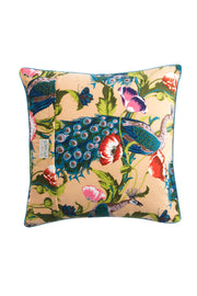 Peacock and Poppies Sand Velvet Cushion