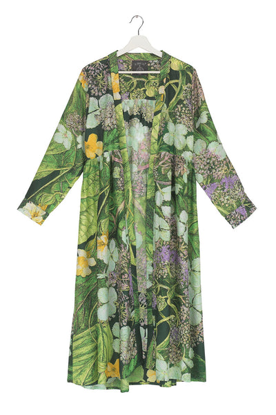 One Hundred Stars takes inspiration for the Marianne North Collection held at the Royal Botanic Gardens, Kew. Here is the Hydrangea hand screen printed duster coat