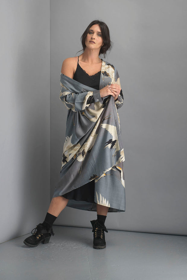 Stork Slate Grey Duster Coat
