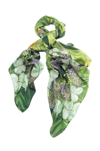 Marianne North Hydrangea Lime Green Scarf