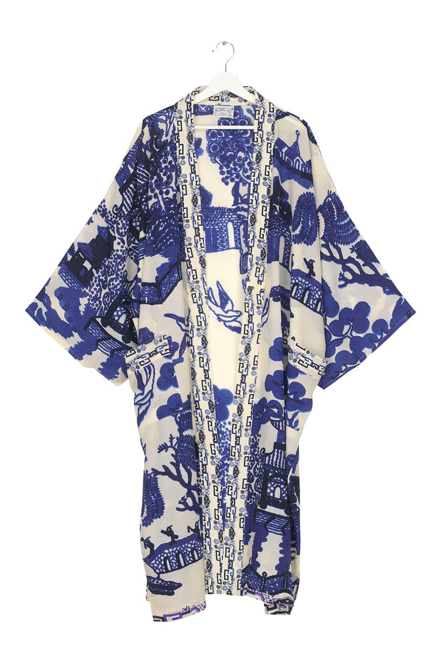 Giant Willow Blue Crepe Long Kimono