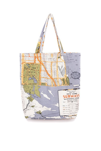 One Hundred Stars New York Grey Map Bag