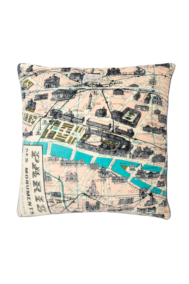 Paris Street Map Square Velvet Cushion