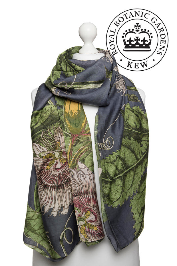 Passion Flower Grey Scarf