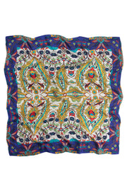 Decadent Blue Silk Square Scarf
