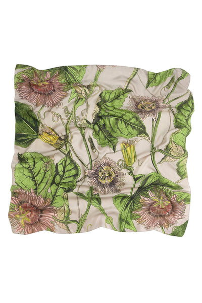 Passion Flower Stone Silk Square Scarf