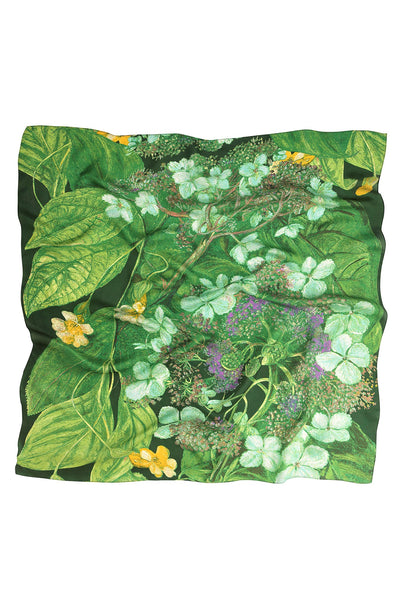 Marianne North Hydrangea Lime Silk Scarf