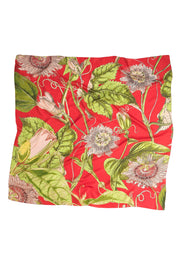 Passion Flower Scarlet Red Silk Square Scarf