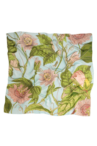 Passion Flower Sky Silk Square Scarf
