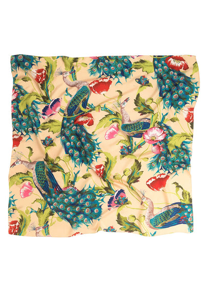 Peacock and Poppies Sand Silk Scarf