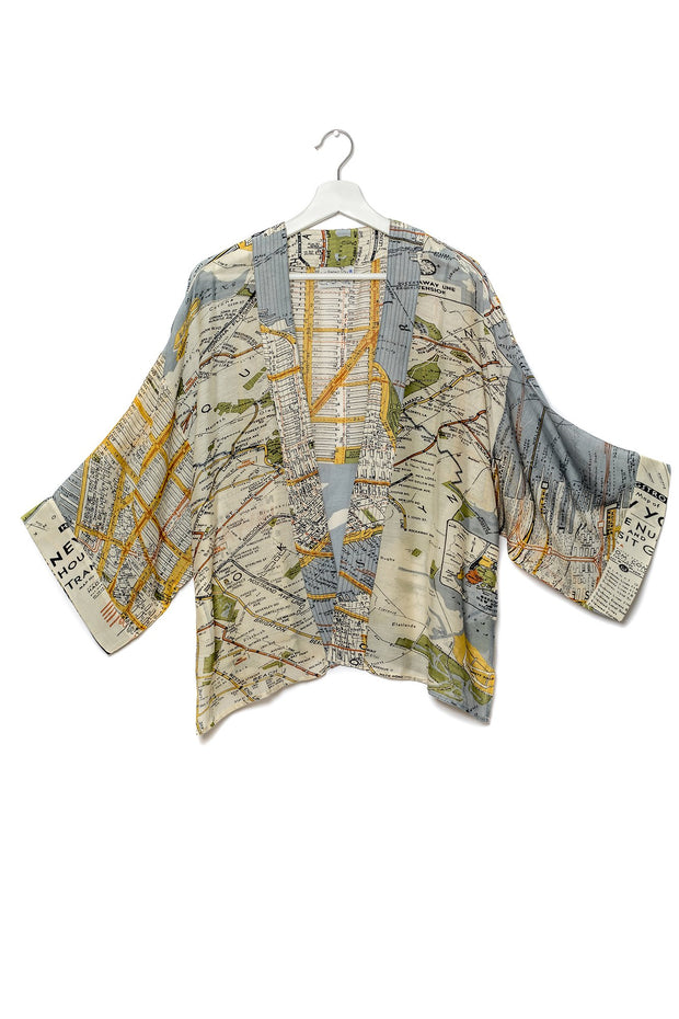 New York City Grey Map Kimono