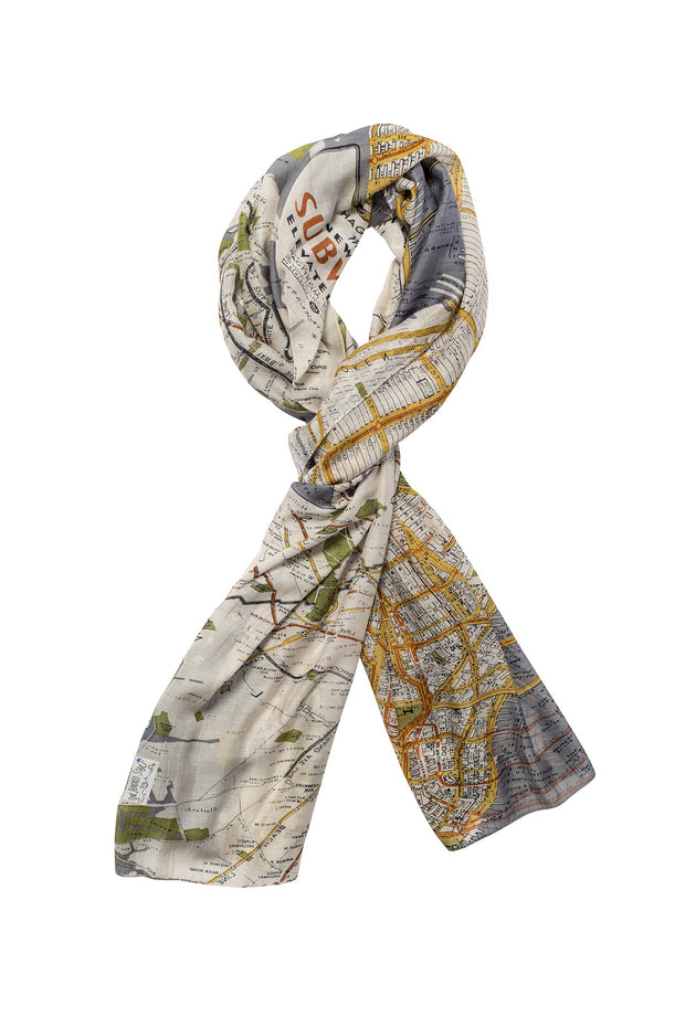 New York City Grey Map Scarf