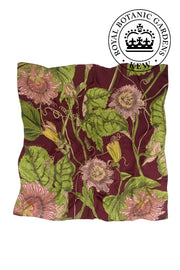 Passion Flower Burgundy Silk Square Scarf