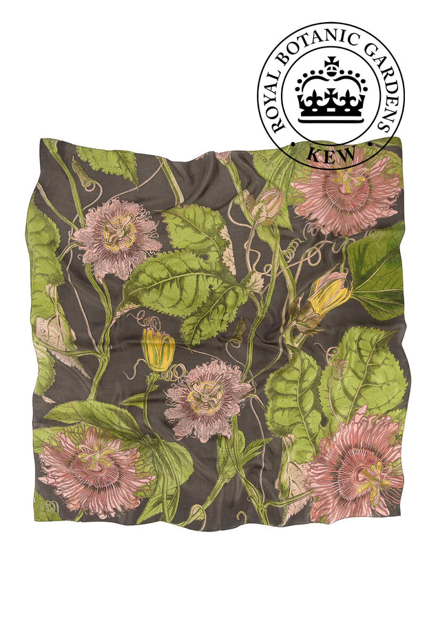 Passion Flower Grey Silk Square Scarf