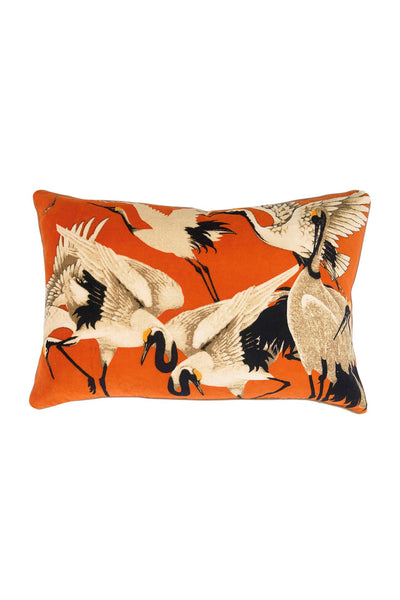 Stork Orange Rectangular Velvet Cushion