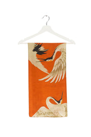 Stork Orange Silk Square Scarf