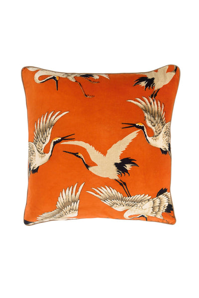 Stork Orange Square Velvet Cushion