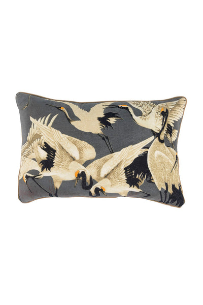 Stork Slate Grey Rectangular Velvet Cushion