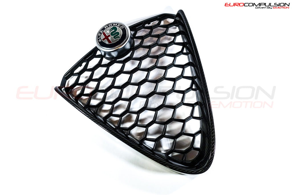 GENUINE ALFA ROMEO CARBON FIBER CENTER GRILL (ALFA ROMEO GIULIA 2.0 Ti) - EUROCOMPULSION
