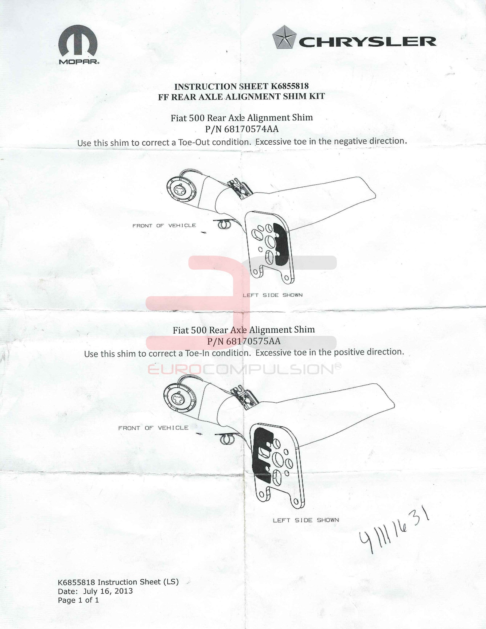 Genuine Fiat Shim Kit Eurocompulsion Subaru Rear Axle Diagram