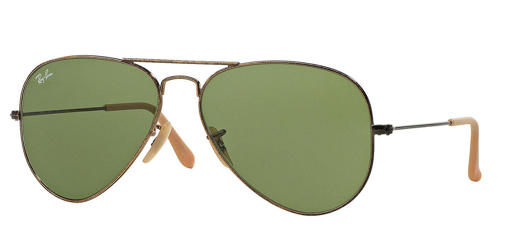 Aviator Distressed Gold, Green Lenses