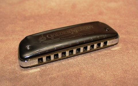 Ready-to-Go Plated Hohner Golden Melody - Black Nickel Plated Comb and Chrome Plated Covers - Key of D