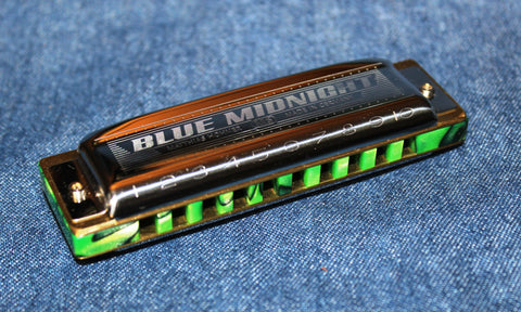 Ready-to-Go Blue Midnight in Bb with Nuclear Lime Fancy Acrylic Comb