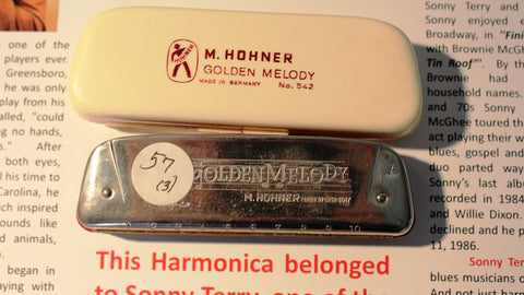 Sonny Terry Estate Harmonica - Golden Melody #57-3  Key of A