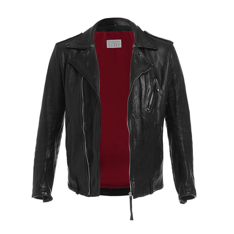 "THE ""BRANDO"" CLASSIC MOTORCYCLE LEATHER JACKET IN BLACK"