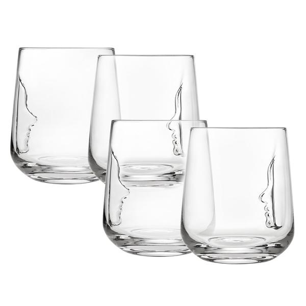 "Set of 4 Glasses ""face"""