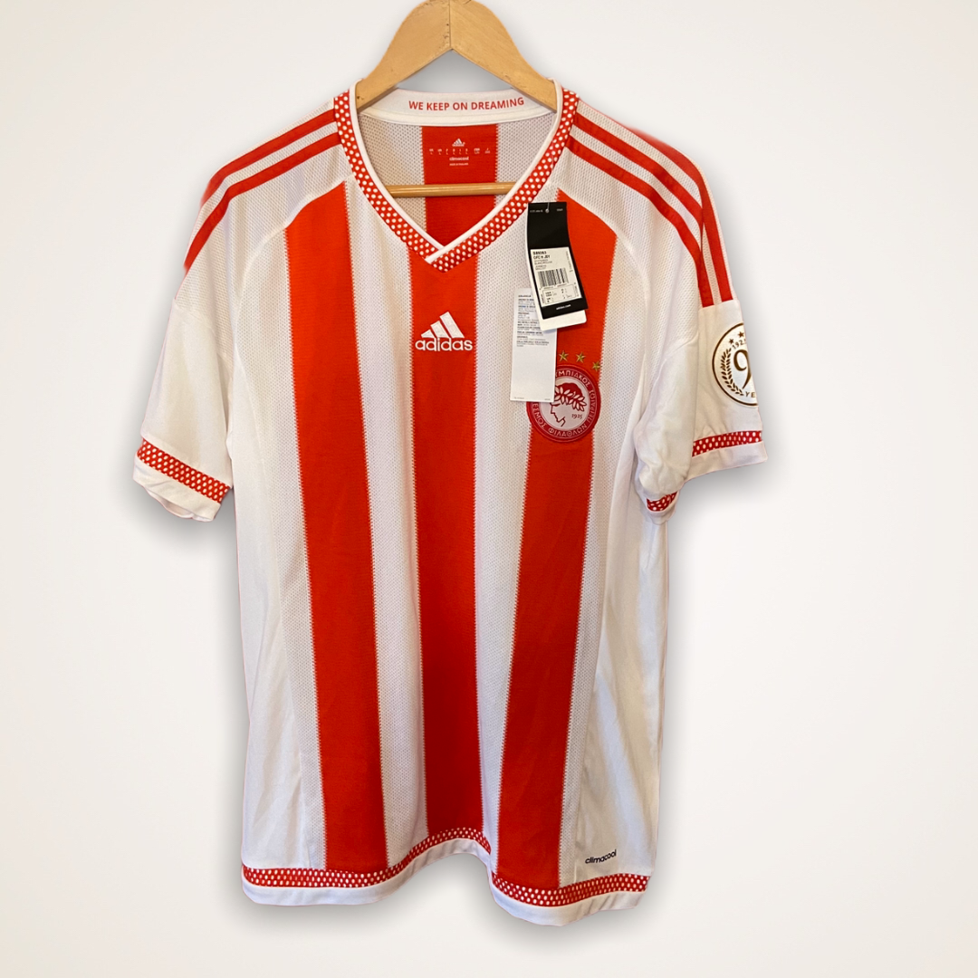 Olympiakos home shirt 2015-16 Adidas BNWT Large 90 years