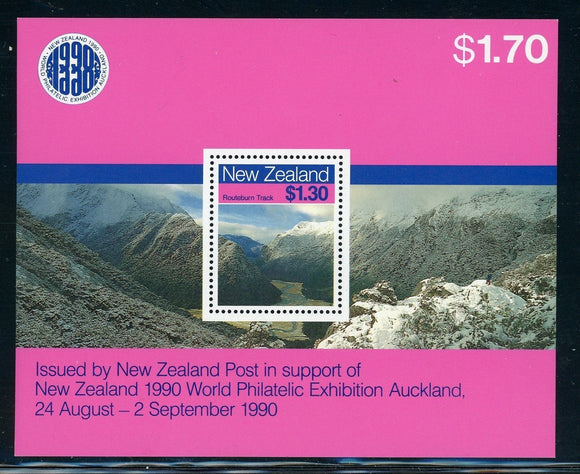New Zealand Scott #906a MNH Landscapes Philatelic EXPO Auckland 1990 $$