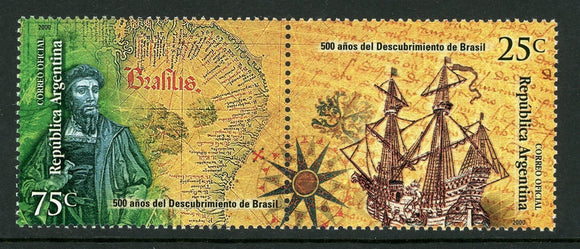 Argentina Scott #2102 MNH PAIR Discovery of Brazil 500th ANN SHIP CV$2+