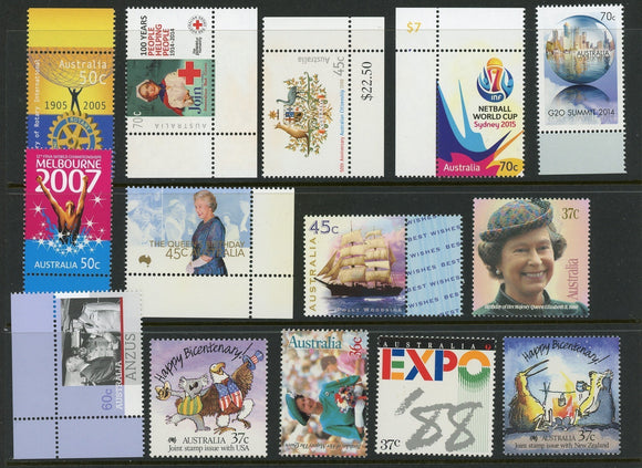 Australia Assort 36 MNH Queen Elizabeth II SHIPS SPORTS Rotary Red Cross $$