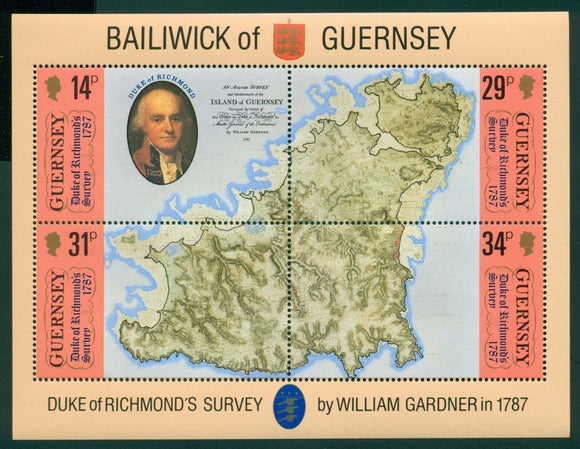 Guernsey Scott #347 MNH S/S Duke of Richmond's Map of Guernsey CV$3+