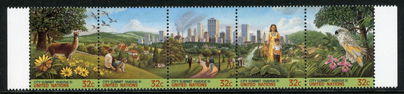 United Nations Scott #682a MNH STRIP City Summit FLORA FAUNA CV$7+
