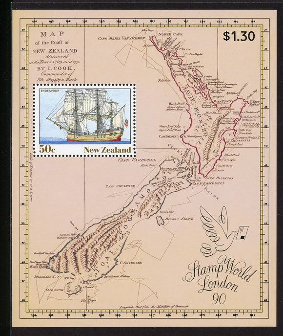 New Zealand Scott #981a MNH S/S HMS Endeavour SHIP London '90 Stamp EXPO CV$20+