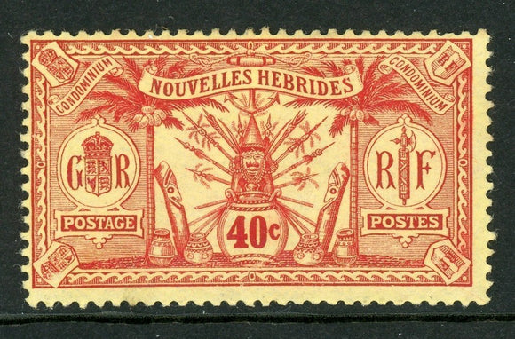 New Hebrides (FR) Scott #27 MH Indigenous Masks ART 40c red on yellow CV$24+