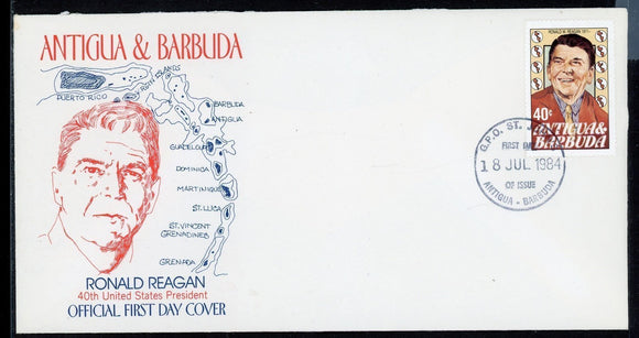 Antigua & Barbuda FIRST DAY COVER 1984 R. Reagan 40th US President $$
