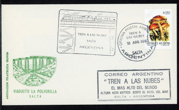Argentina COVER 1994 TREN A LAS NUBES Cancel on Mushrooms cachet $$