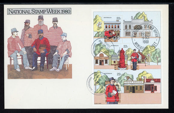Australia FIRST DAY COVER 1980 MINISHEET National Stamp Week $$