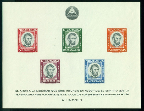 Nicaragua Scott #828a MNH S/S Abraham Lincoln $$