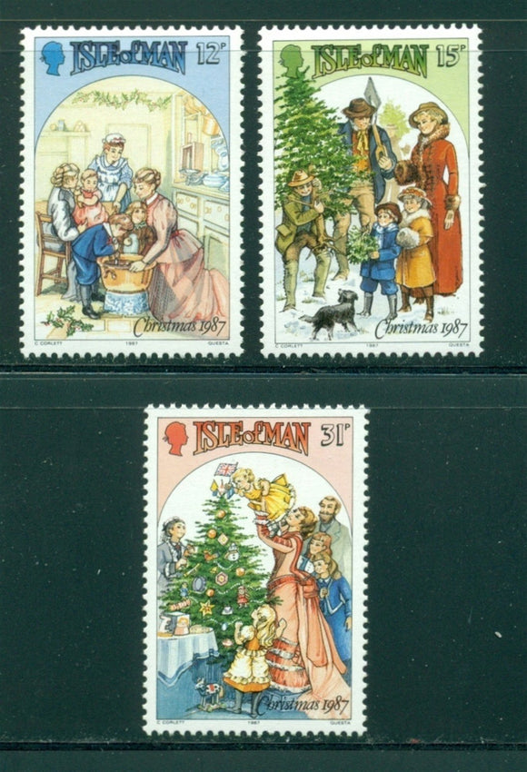Isle of Man Scott #344-346 MNH Christmas 1987 $$
