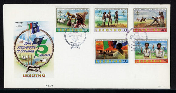 Lesotho Scott #357-361 FIRST DAY COVER Scouting Year $$