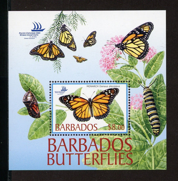 Barbados Scott #1077 MNH S/S Butterflies Pacific Explorer 2005 Stamp EXPO CV$11+