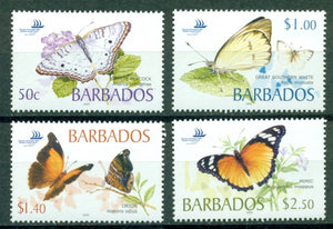 Barbados Scott #1073-1076 MNH Butterflies Pacific Explorer Stamp EXPO CV$13+
