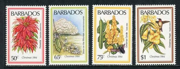 Barbados Scott #636-639 MNH Christmas 1984 Flowers FLORA CV$8+