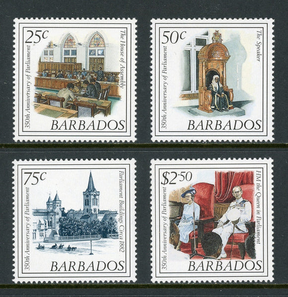 Barbados Scott #743-746 MNH Parliament 350th ANN CV$6+