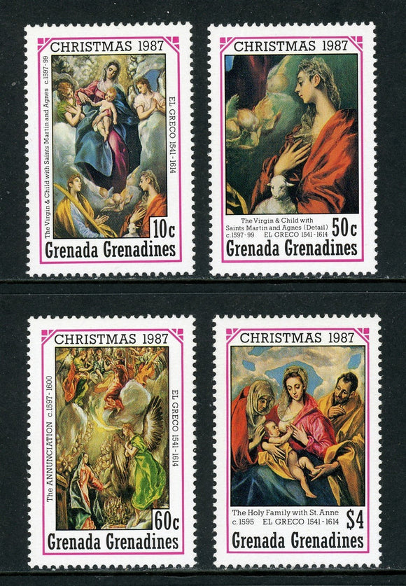 Grenada Grenadines Scott #929-932 MNH Christmas 1987 ART CV$8+