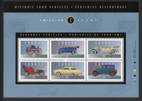 Canada Scott #1490 MNH S/S Historic Automobiles Cars CV$7+